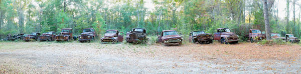 Wall Art - Photograph - Old Rusty Cars And Trucks In A Field by Panoramic Images
