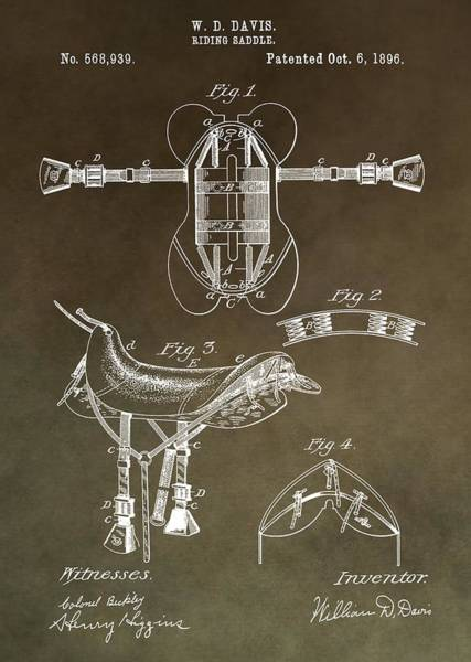 Mixed Media - Old Saddle Patent by Dan Sproul
