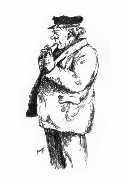 Drawing - Old Sailor by Sam Sidders