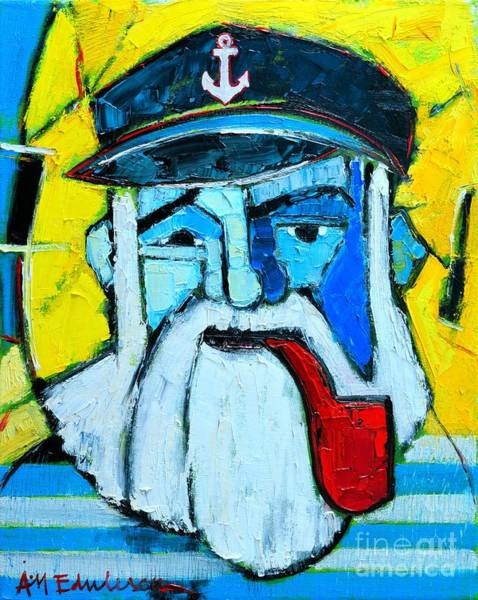 Maria Island Wall Art - Painting - Old Sailor With Pipe Expressionist Portrait by Ana Maria Edulescu