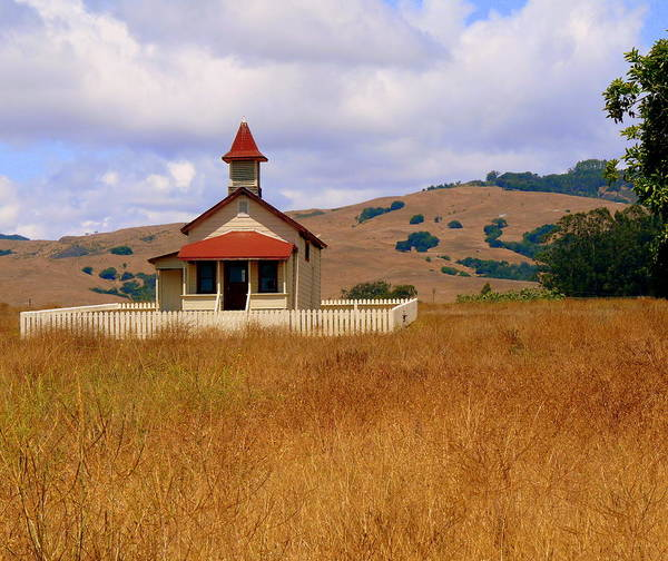 Photograph - Old San Sebastian School In Field by Jeff Lowe