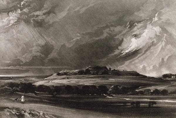 English Countryside Photograph - Old Sarum, Engraved By David Lucas 1802-81 C.1829 Mezzotint by John Constable
