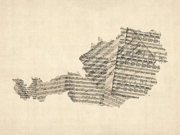 Austrian Wall Art - Digital Art - Old Sheet Music Map Of Austria Map by Michael Tompsett