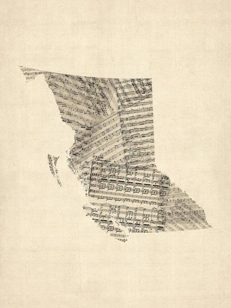 Digital Art - Old Sheet Music Map Of British Columbia Canada by Michael Tompsett