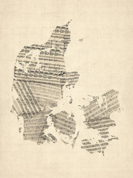 Cartography Digital Art - Old Sheet Music Map Of Denmark by Michael Tompsett