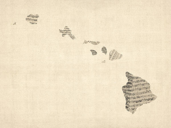Hawaii Wall Art - Digital Art - Old Sheet Music Map Of Hawaii by Michael Tompsett