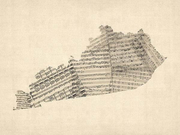 Digital Art - Old Sheet Music Map Of Kentucky by Michael Tompsett