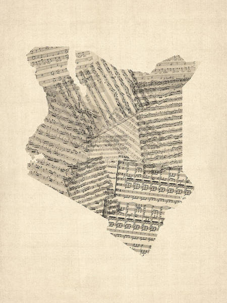 Geography Wall Art - Digital Art - Old Sheet Music Map Of Kenya Map by Michael Tompsett