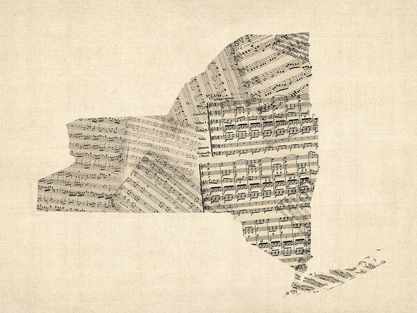 Wall Art - Digital Art - Old Sheet Music Map Of New York State by Michael Tompsett