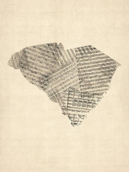 Lone Digital Art - Old Sheet Music Map Of South Carolina by Michael Tompsett