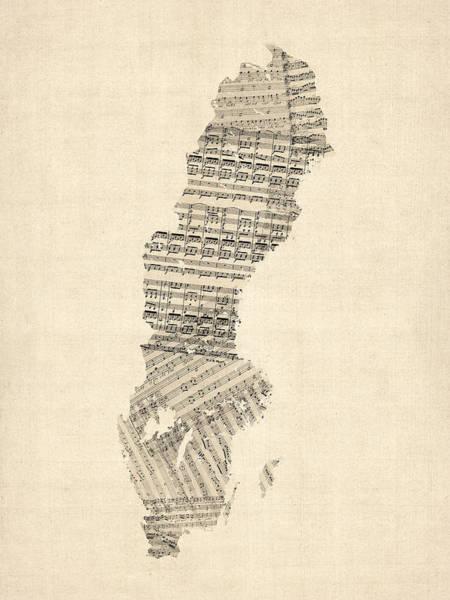Digital Art - Old Sheet Music Map Of Sweden by Michael Tompsett