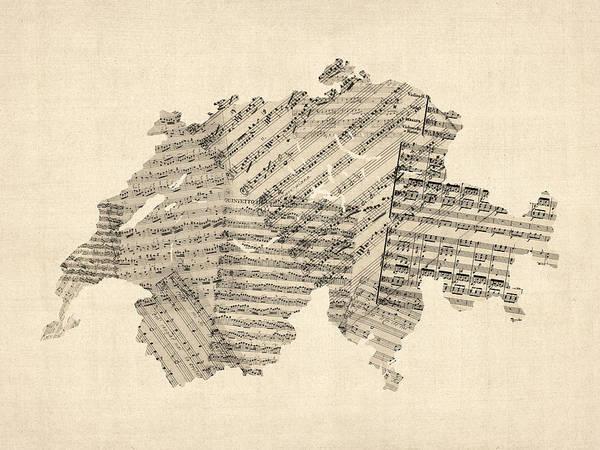 Digital Art - Old Sheet Music Map Of Switzerland Map by Michael Tompsett