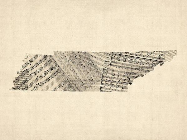 Wall Art - Digital Art - Old Sheet Music Map Of Tennessee by Michael Tompsett