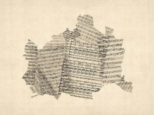 Old Sheet Music Map Of Vienna Austria Map Art Print