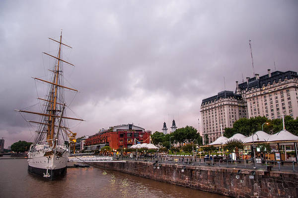 Floating Museum Photograph - Old Ship And View Of Puerto Madero by Jess Kraft