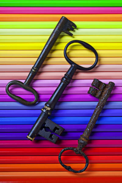 Key Wall Art - Photograph - Old Skeleton Keys On Rows Of Colored Pencils by Garry Gay