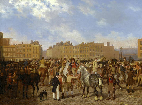 Oil Industry Painting - Old Smithfield Market, London Signed In Brown Paint by Litz Collection