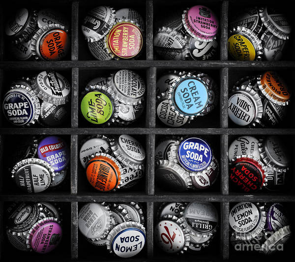 Black Cap Photograph - Old Soda Bottle Tops by Tim Gainey