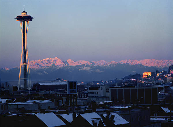 Photograph - 1a4x40-space Needle, 1972, And Olympic Mountains Wa  by Ed  Cooper Photography
