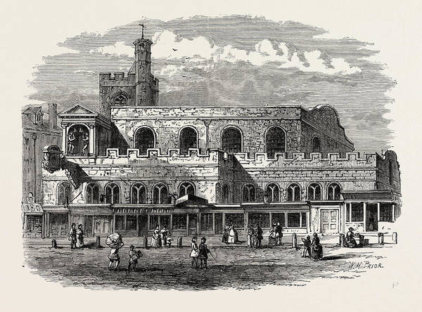 Old Style Drawing - Old St. Dunstans Church 1814 London by English School
