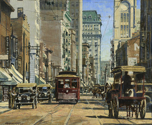Wall Art - Painting - Old St. Louis 11th And Olive by Don  Langeneckert