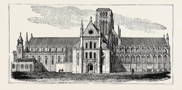 Old Style Drawing - Old St. Pauls Cathedral by English School