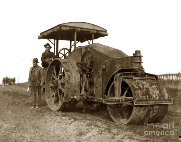 Photograph - Old Steam Roller Road Construction Circa 1920 by California Views Archives Mr Pat Hathaway Archives