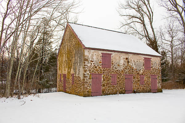 Photograph - Old Stone Barn In Winter by Kristia Adams