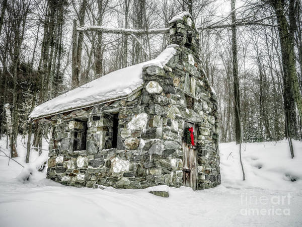 Wall Art - Photograph - Old Stone Chapel Stowe Vermont by Edward Fielding