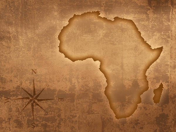 Dirty Photograph - Old Style Africa Map by Johan Swanepoel