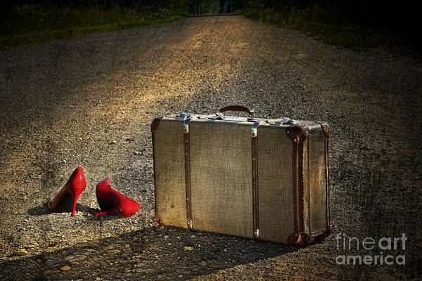 Wall Art - Photograph - Old Suitcase With Red Shoes Left On Road by Sandra Cunningham