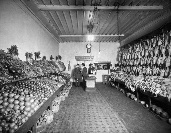 1890s Wall Art - Photograph - Old Time Grocery Store by Underwood Archives