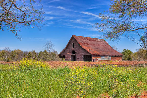 Photograph - Old Tin Roofed Barn In Spring - Rural Georgia by Mark E Tisdale