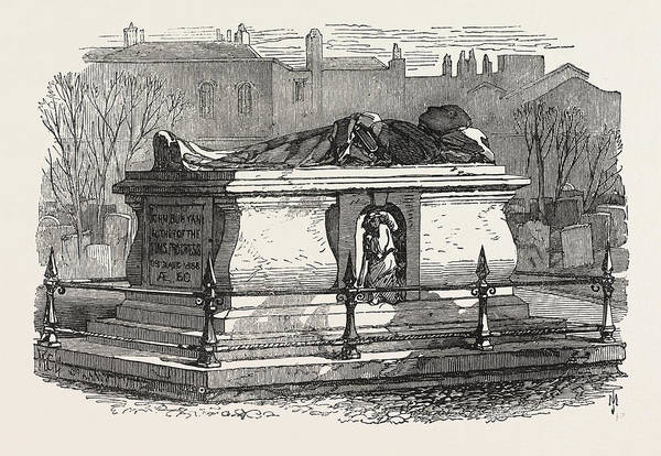 Old Style Drawing - Old Tombs In Bunhill Fields Cemetery John Bunyans Tomb by English School