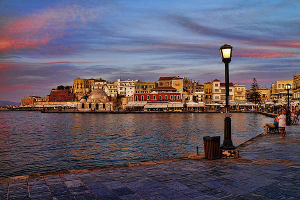 Muslim Photograph - Old Town Harbour In Chania Crete by David Smith