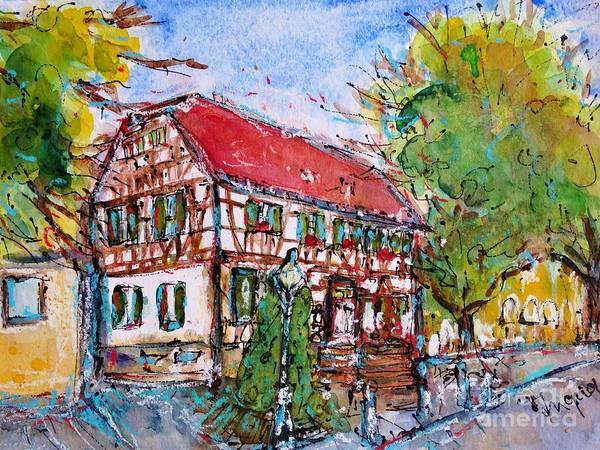 Payment Painting - Old Town In Ginsheim by Ingrid  Becker