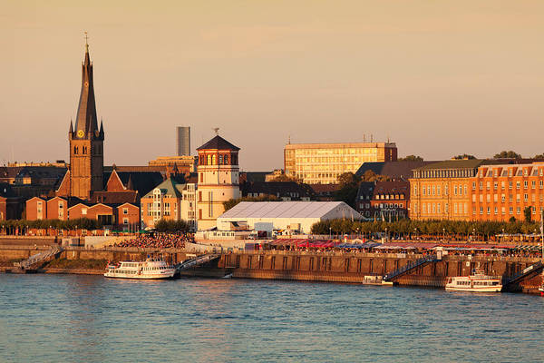 Rhine River Photograph - Old Town With Lambertus Church by Panoramic Images