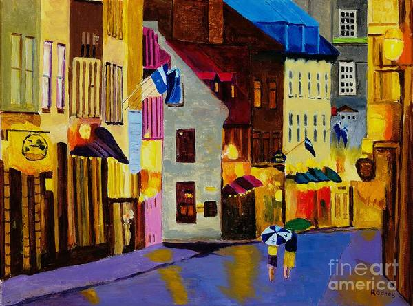 Quebec Flag Painting - Old Towne Quebec by Rodney Campbell