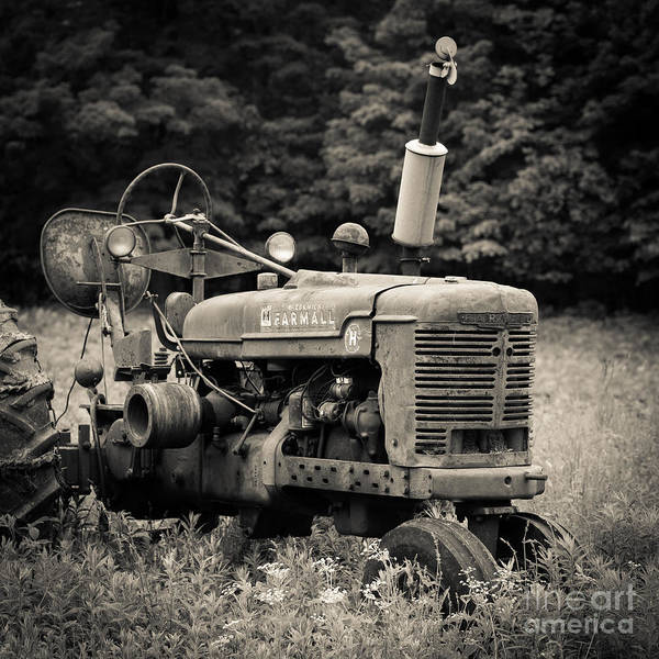 Farm Equipment Photograph - Old Tractor Black And White Square by Edward Fielding