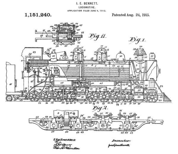 Digital Art - Old Train Patent by Dan Sproul