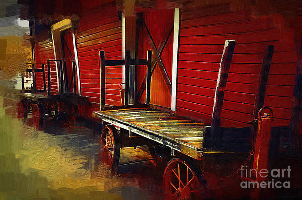 Digital Art - Old Train Station Carts by Kirt Tisdale