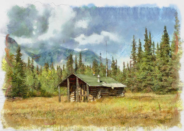 Digital Art - Old Trappers Cabin by Fred Denner