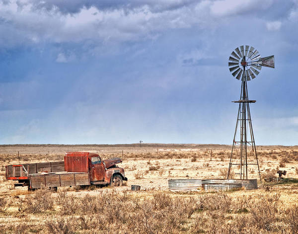 Clunker Wall Art - Photograph - Old Truck And Windmill Prairie Landscape by Julie Magers Soulen