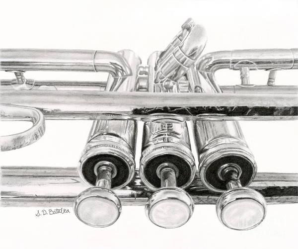 Wall Art - Drawing - Old Trumpet Valves by Sarah Batalka