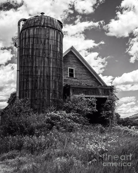 Silo Photograph - Old Vermont Barn And Silo by Edward Fielding