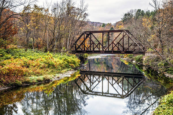 Photograph - Old Vermont Train Bridge In Autumn by Edward Fielding