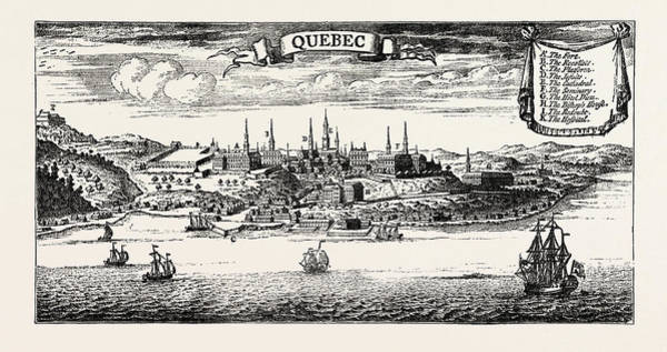 Old Style Drawing - Old View Of Quebec, From Popple S American Atlas by Canadian School