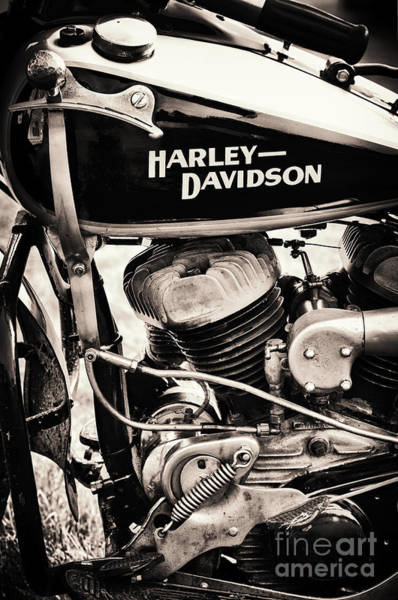 Harley Davidson Black And White Wall Art - Photograph - Old Vintage Hd by Tim Gainey