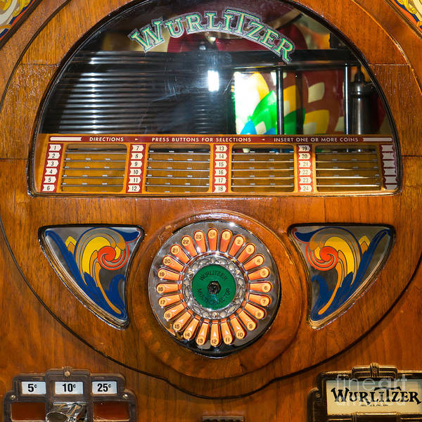 Wurlitzer Photograph - Old Vintage Wurlitzer Jukebox Dsc2824 Square by Wingsdomain Art and Photography