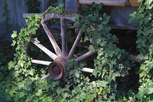 Marijuana Mixed Media - Old Wagon Wheel On The Farm by Dan Sproul